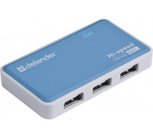 Разветвитель USB 2.0 Defender Quadro Power (активный, 4х USB 2.0) синий/белый