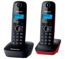 Радиотелефон DECT Panasonic KX-TG1612RU3 (2 трубки, ЖК дисплей, АОН, Caller ID, тел. справочник на 50 записей, черно-красный)